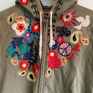 Lucky Brand Embroidered Zip Hoodie